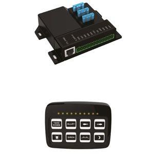 Panneau de contrôle à 8 Boutons poussoir relié à une boîtes de gestion avec relais